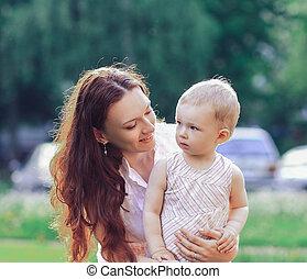 mały, dzień, chód, lato, córka, mamusia, jej