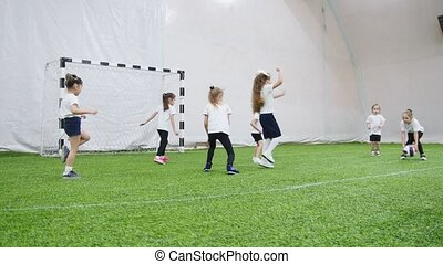 mały, dzieciaki, arena., domowy, piłka nożna, szczęśliwy, ...