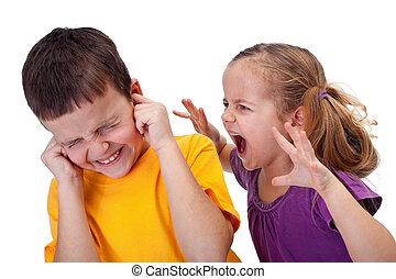 mały, dzieciaki, -, rozkrzyczany, gniew, dziewczyna, kłótnia