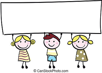 mały, dzierżawa, chorągiew, szczęśliwy, opróżniać, sprytny, -, chłopiec, dziewczyny, czysty, rysunek, illustration.