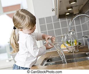 mały, dziewczyna, kuchnia
