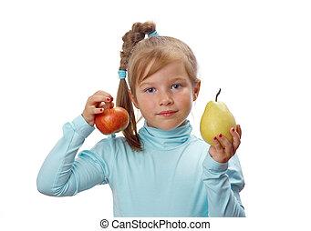 mały, dziewczyna, owoc