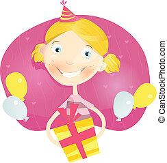 mały, dziewczyna, prezent urodzinowy, szczęśliwy