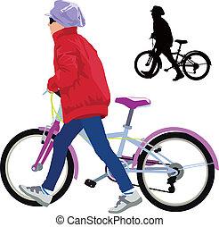 mały, dziewczyna, rower