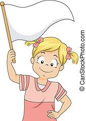 mały, falując banderę, czysty, biały, dziewczyna, koźlę
