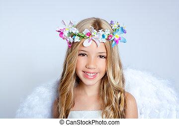 mały, fason, anioł, dzieci, dziewczyna, portret, biały, skrzydełka