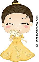 mały, filipina, dziewczyna, chodząc, krajowy, kostium,...