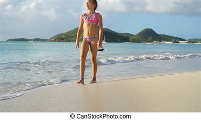 mały, godny podziwu, tropikalny, danie zabawa, dziewczyna, ...