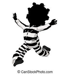 mały, ilustracja, amerykanka, afrykanin, dziewczyna, ...