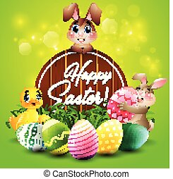 mały, jaja, barwny, drewniany, powitanie, dwa, kaczka, króliki, znak, wielkanoc, karta