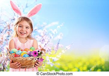 mały, jaja, -, kosz, dziewczyna, wielkanocna trusia, kłosie