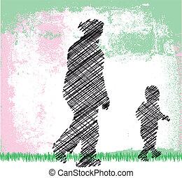 mały, jej, grandson., ilustracja, babcia, wektor