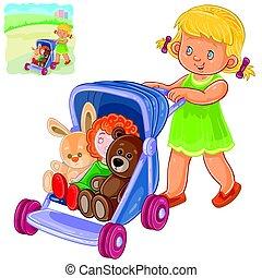 mały, jej, ilustracja, wały, wektor, zabawki, dziewczyna, ...