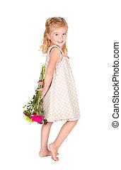 mały, jej, wstecz, za, dzierżawa, dziewczyna, kwiaty