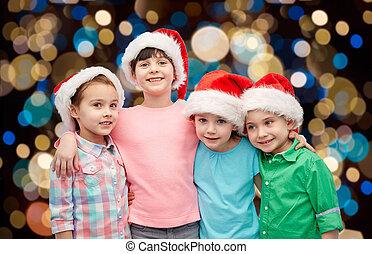 mały, kapelusze, tulenie, święty, dzieci, szczęśliwy