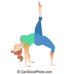 mały, kobieta, yoga, tłuszcz, normalny