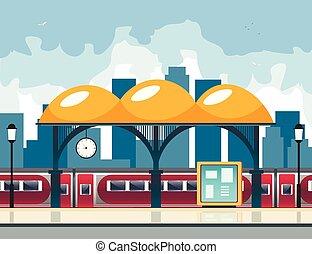 mały, kolej żelazna, station.