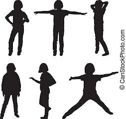 mały, komplet, dziewczyny, teenage, ilustracja, sylwetka, ...