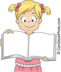 mały, książka, czysty, dziewczyna, otwarty, koźlę