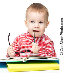 mały, książka, gra, dziecko