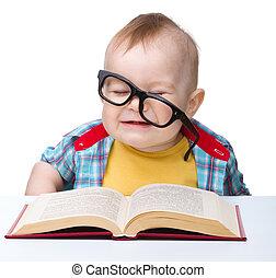 mały, książka, gra, okulary, dziecko