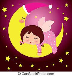 mały, księżyc, dziewczyna, śniący