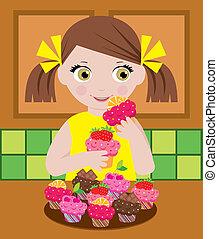 mały, kuchnia, dziewczyna, cupcake