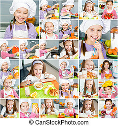 mały, kuchnia, dziewczyna uśmiechnięta