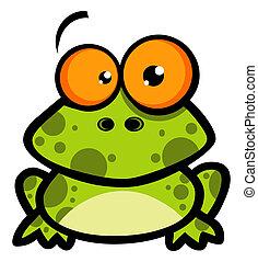 mały, litera, rysunek, żaba
