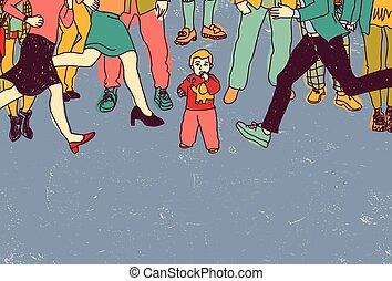 mały, ludzie, tłum, niemowlę, niebezpieczeństwo, sam, stracony, color.