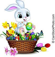 mały, malarstwo, królik, wielkanoc, rysunek, jajko