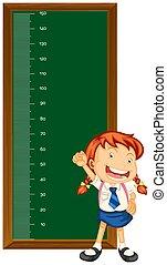 mały, mierzenie, wykres, dziewczyna, wysokość