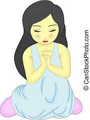 mały, modlący się, ładna dziewczyna, sprytny, klęczący
