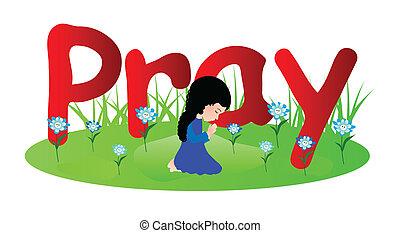 Mały, modlący się, dziewczyna