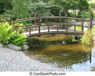 mały, most, ogród, japaneese