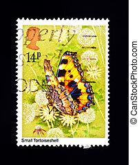 mały, motyl, tortoiseshell, znaczek pocztowy