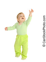 mały, niemowlę, zielony