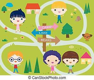 mały, obóz, szczęśliwy, letnie dzieciska
