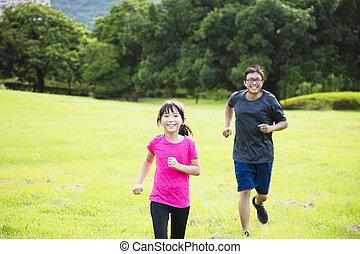mały, okolica, ojciec, wyścigi, dziewczyna, szczęśliwy