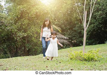 mały, outdoors, cyzelatorstwo, dziewczyna, macierz