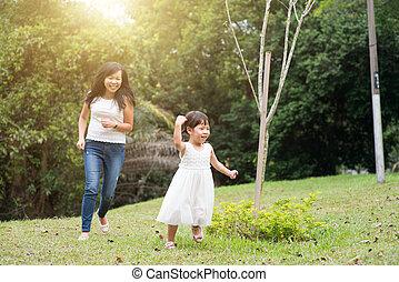 mały, outdoors, wyścigi, dziewczyna, macierz
