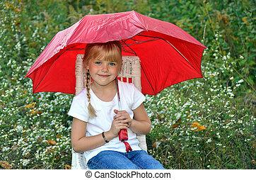 mały, parasol, dziewczyna, czerwony