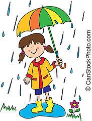 mały, parasol, dziewczyna