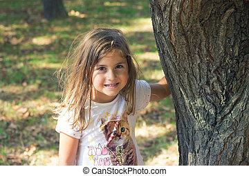 mały, park, dziewczyna