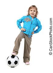 mały, piłka nożna, dziewczyna, piłka