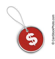 mały, pieniądze, skuwka, okrągły, czerwony