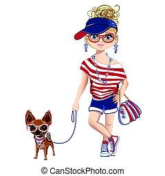 mały, pies, dziewczyna, modny