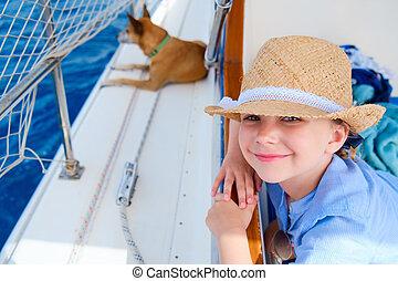mały, pieszczoch, jacht, pies, luksus, dziewczyna