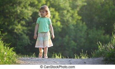 mały, pieszy, na dół, wyścigi, dziewczyna, droga
