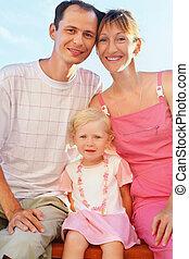 mały, plaża, dziewczyna, rodzina, szczęśliwy